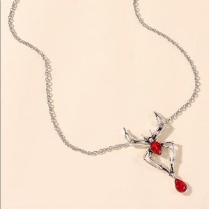Halloween Spider Red Charm Necklace